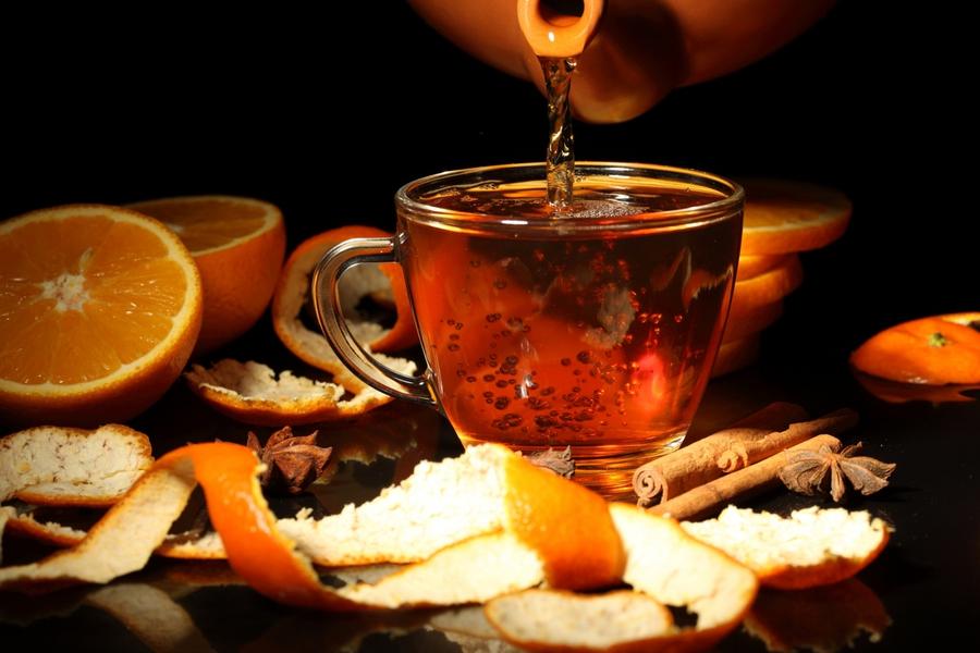 Чай с апельсином и корицей