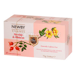 Чай пакетированный Newby Шиповник и гибискус 25 шт
