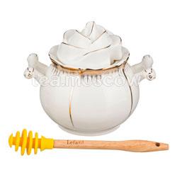 Банка для меда Lefard Цветочная Симфония и деревянная палочка  ((590-045)