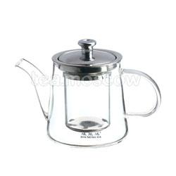 Чайник стеклянный с металлической крышкой 600 мл К-003