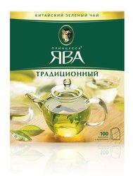 Чай Принцесса Ява Традиционный зеленый в пакетиках 100 шт