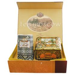 Набор Чайный подарок золотой (Ларец Янтарь+Фолк Черно-белый)