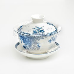 Гайвань синий цветок (фарфор) YD-001
